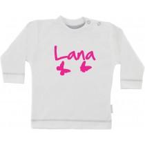 Personalizirana otroška majica z dolgimi rokavi in metulji