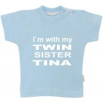 Otroška majica z napisom - twin sister