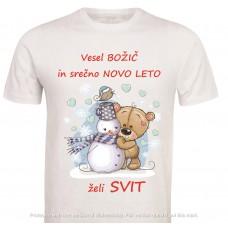 Otroška majica -božič medvedek s snežakom