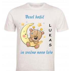 Otroška majica -božič medvedek z lunco