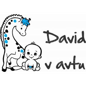 nalepka otrok v avtu baby in žirafa