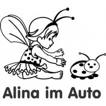 Car sticker baby on board Ladybug