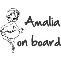 Baby on board car sticker Ballerina