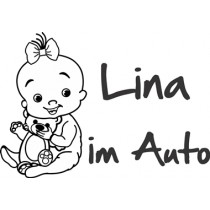 Baby on board sticker cute girl with teddy