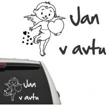 Avto naljepnica angel sa srcom